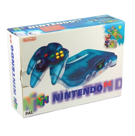 Nintendo 64 Basenhet Clear Blue / White Mario Pak